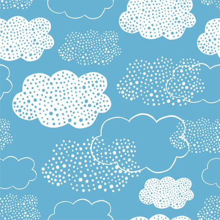 Seamless pattern of hand drawn doodle clouds for textiles, interior design, for book design, website background