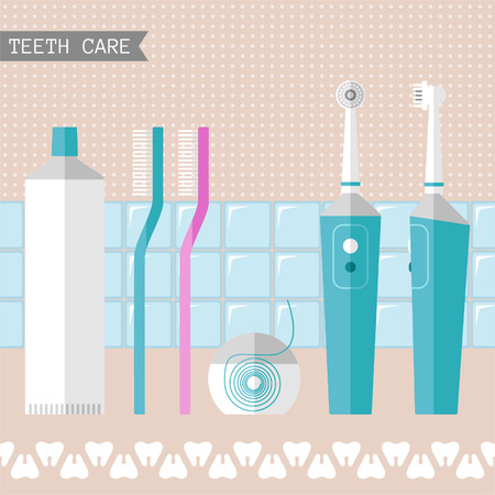 Set of teeth care icons for design Vector