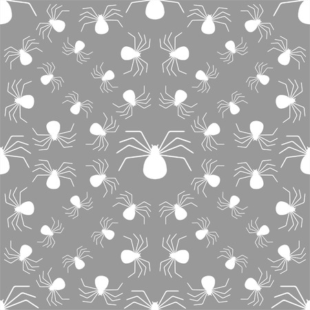creeps: Seamless pattern with spiders, Halloween background Illustration