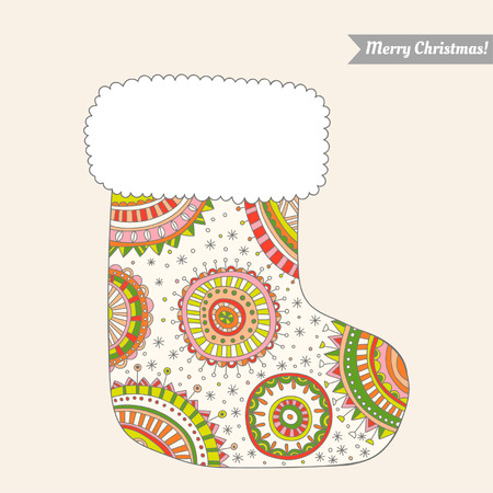 Christmas stocking for gifts, decorative pattern Vector