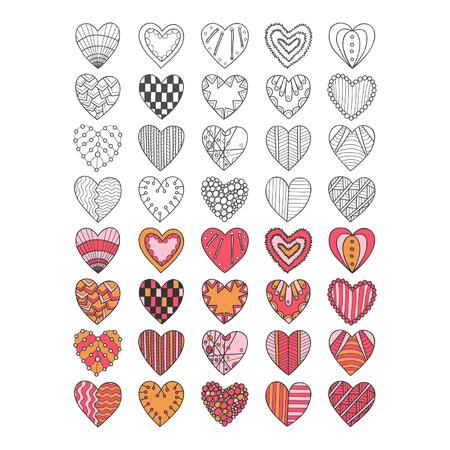 Set of hand drawn heart symbols for design Vector