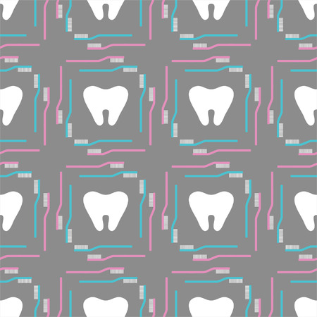 Seamless pattern of tooth brushes and teeth Vector