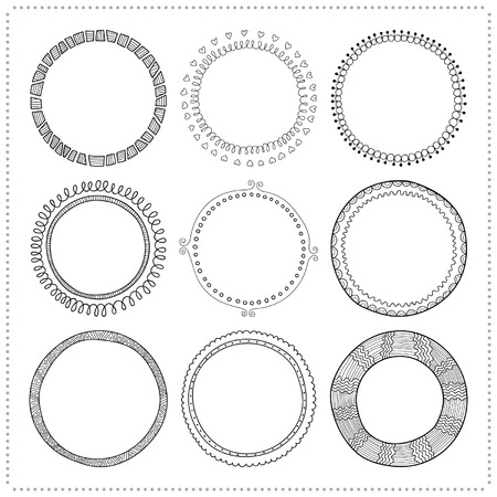 cute doodle: Set of hand drawn doodle frames