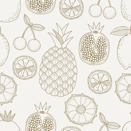 pineapple slice: Seamless fruit pattern
