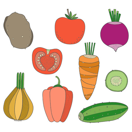Set of hand drawn vegetables, potatoes, cucumber, tomato, carrot