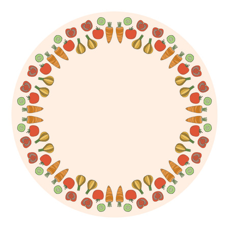 Decorative round vegetables frame on the background