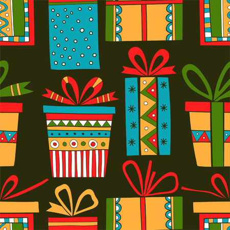 Seamless pattern of gift packages, Christmas gifts Vector