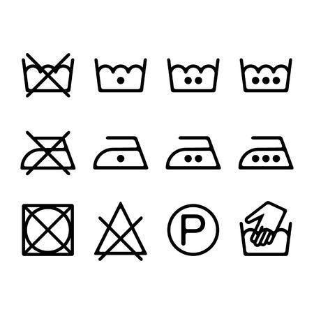 instruction: Set of instruction laundry icons, washing symbols