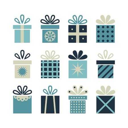 Set van platte cadeau pakketten, kerstgeschenken