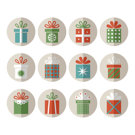 Set van platte cadeau pakketten, kerstcadeaus
