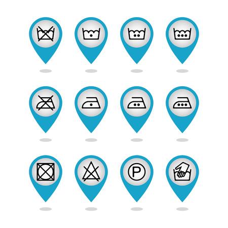 Set van instructie wasgoed iconen, zorg iconen, wassymbolen Stock Illustratie
