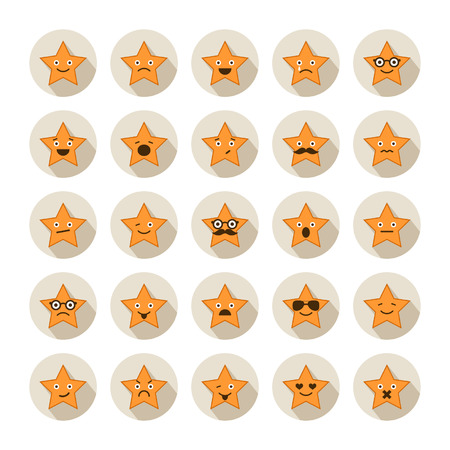 laugh emoticon: Set of stars with different emotions
