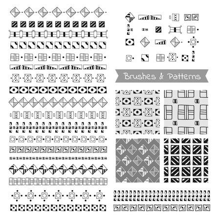 Set of decorative elements, vector brushes, borders, patterns Illustration