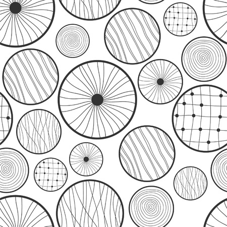 Seamless black and white abstract pattern of circles Vector