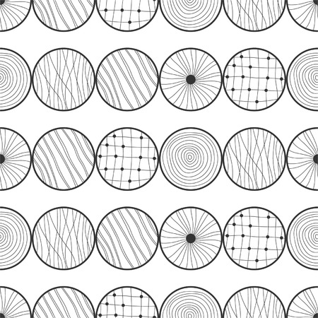 Seamless black and white abstract pattern of circles Illustration
