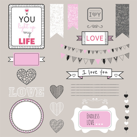 Romantic graphic set, borders, hearts, frames, ribbons, labels for design