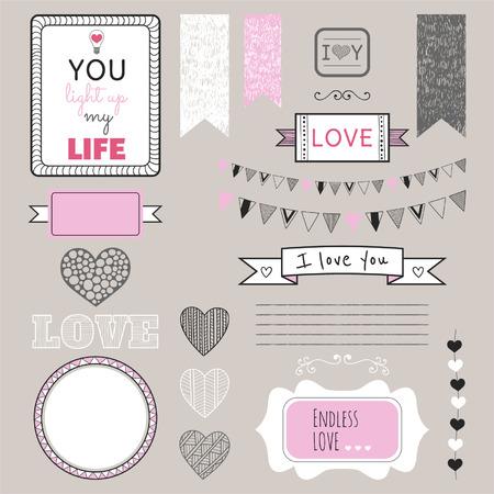 Romantisch grafische set, grenzen, harten, frames, linten, etiketten voor ontwerp Stock Illustratie