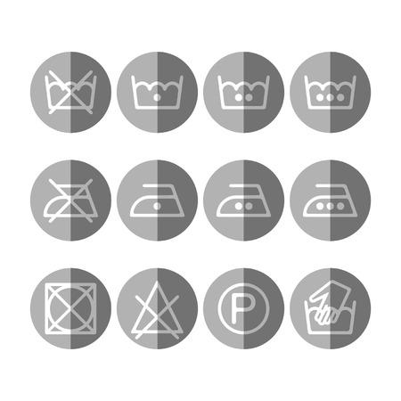Set of instruction laundry icons, care icons, washing symbols Vector