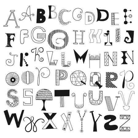 Hand drawn alphabet letters from A to Z. Set of doodle letters for design Vector