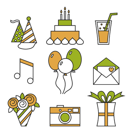 Holiday icons, happy birthday, set. Cake, balloons, flowers, gift, and other festive design elements Vector