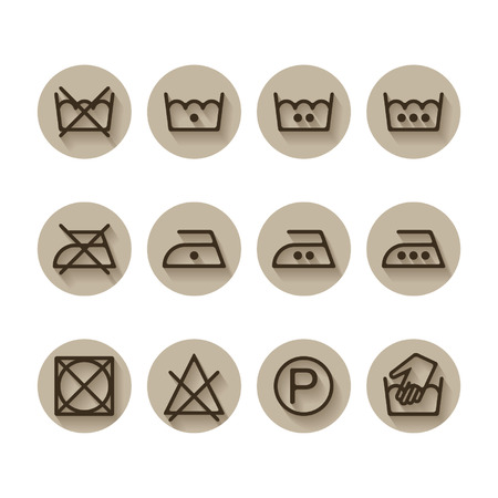 bleach: Instruction laundry, dry, cleaning, care icons, washing symbols set Illustration