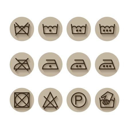 laundry care: Instruction laundry, dry, cleaning, care icons, washing symbols set Illustration