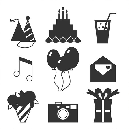 Black silhouette icons, happy birthday set Vector