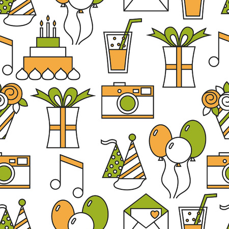 Seamless holiday pattern, happy birthday, festive background Vector