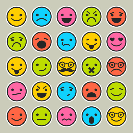 happy face: Set of emoticons, faces icons Illustration