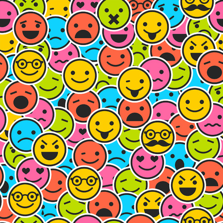 laugh emoticon: Seamless pattern with color emoticons