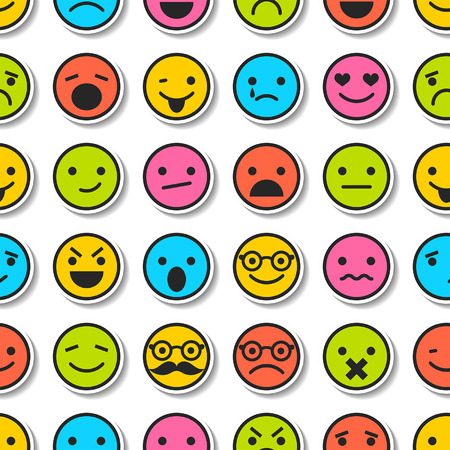 Seamless pattern with color emoticons, characters icons