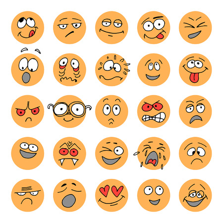Set of hand drawn emoticons, doodle characters Vettoriali