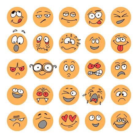 Set van hand getekende emoticons, krabbel karakters