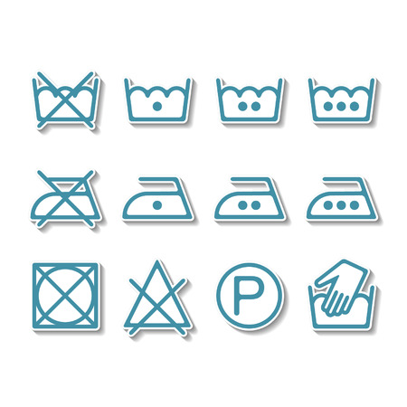 laundry care: Instruction laundry, dry cleaning, care icons, washing symbols for design
