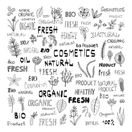 Set of doodle herbs plants and the lettering: natural organic cosmetics fresh bio product