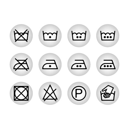 laundry care: Instruction laundry dry cleaning care icons washing symbols for design