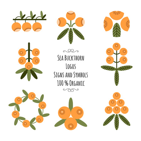 Set of the sea buckthorn logos signs and symbols for natural cosmetic products