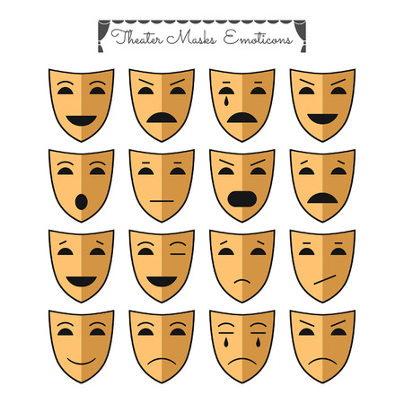 theatrical performance: Theatrical masks emoticons Illustration