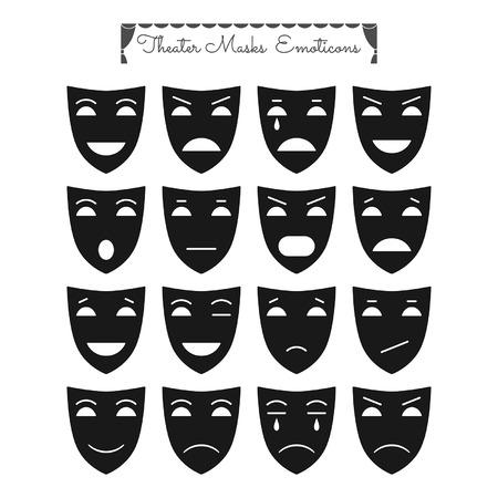 Theatrale maskers emoticons. Personages met verschillende emoties Stock Illustratie