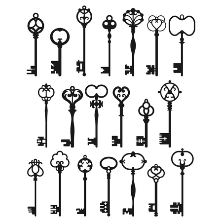 victorian house: Silhouettes of Vintage Keys. Symbols and Signs for Decoration, Design