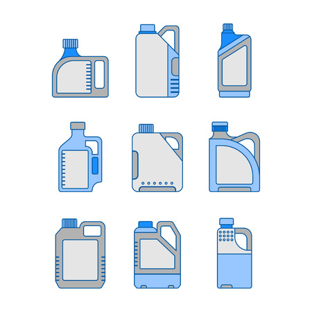 machine oil: Blank Plastic Canisters, flat icons. Plastic Packaging for Machine Oil, Water and other Liquids