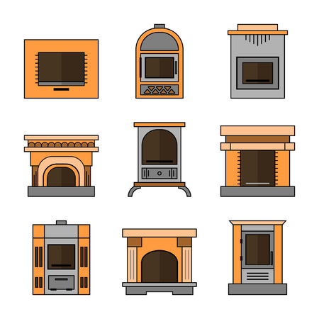 Fireplaces, Flat Icons for Design