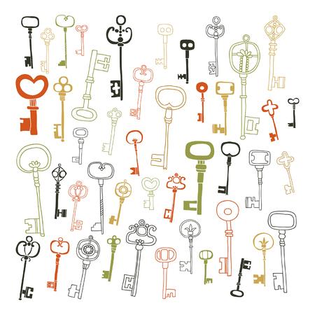 装飾的なビンテージ キー、いたずら書き、旧式なキーの設定します。