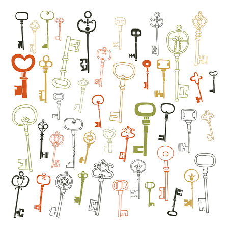 Decorative vintage keys, doodles, set of antique keys