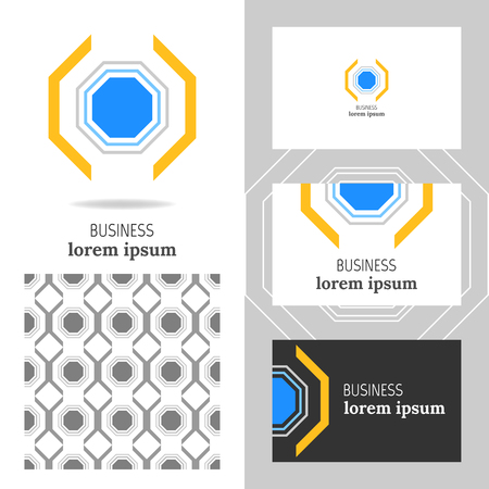 business card design: Business template for the company. Vector polygon element for editing Illustration