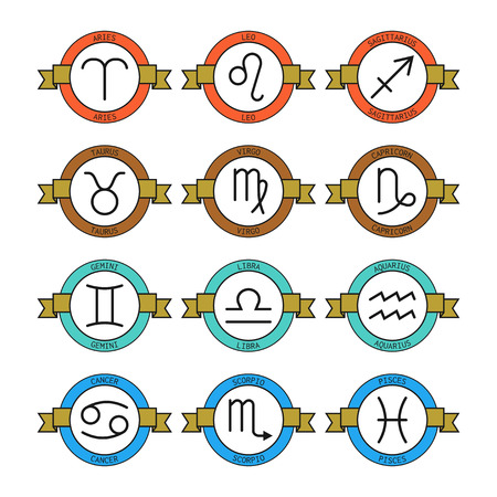 predictions: Badges and labels with zodiac signs for horoscopes, predictions Illustration