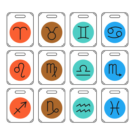 predictions: Zodiac signs icons for horoscopes, predictions for design