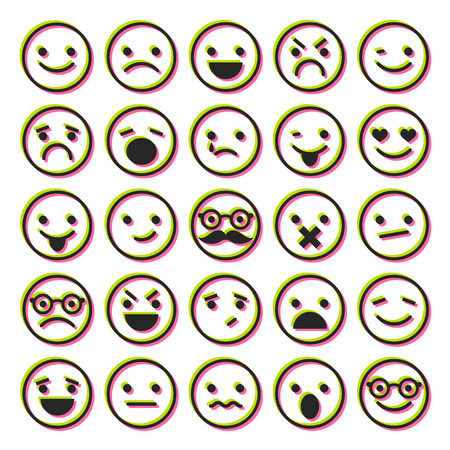 confused man: Set of emoticons, characters icons for design Illustration