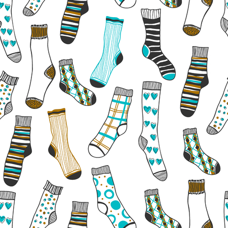 white winter: Seamless pattern of socks on a white background