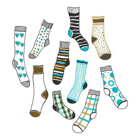 Set of socks on a white background for design